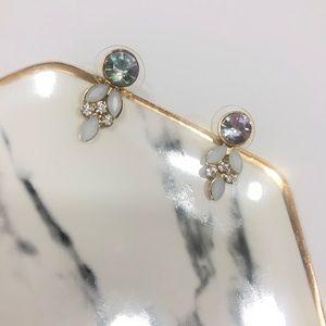 Rhinestone Blue Silver Tear Drop Stud Earrings